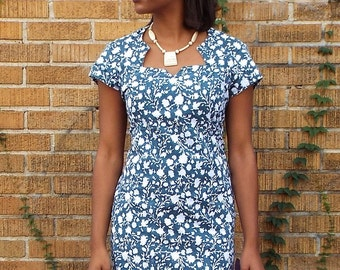 Green Floral Cotton Shift Dress with pockets and fair trade