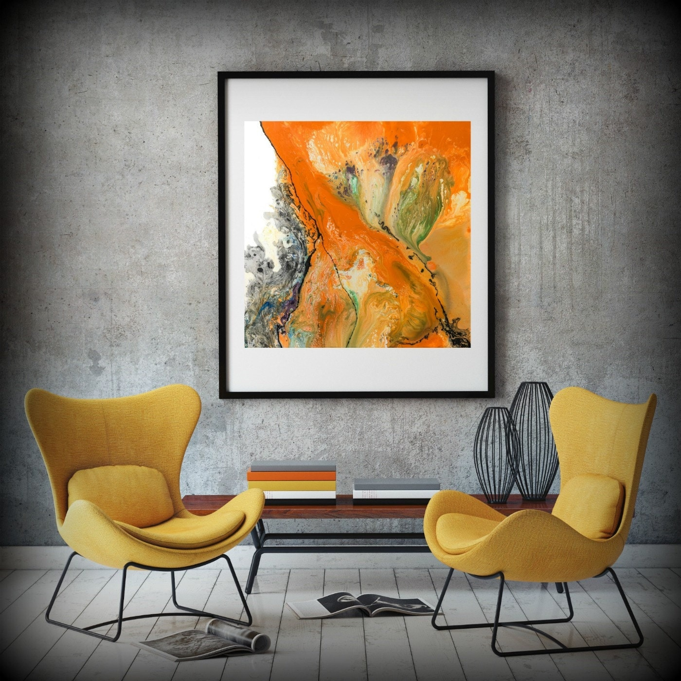 LIVING ROOM DECOR Square Wall Decor Orange Art Dining Room Bathroom Print Bedroom Canvas Home Hanging