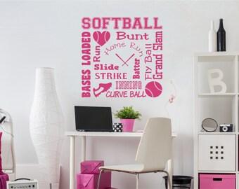 Softball Wall Decal Softball Word Art 2 for Girls Room Teen Girl Bedroom Teen Room Decor Softball Wall Decal for Girls Bedroom