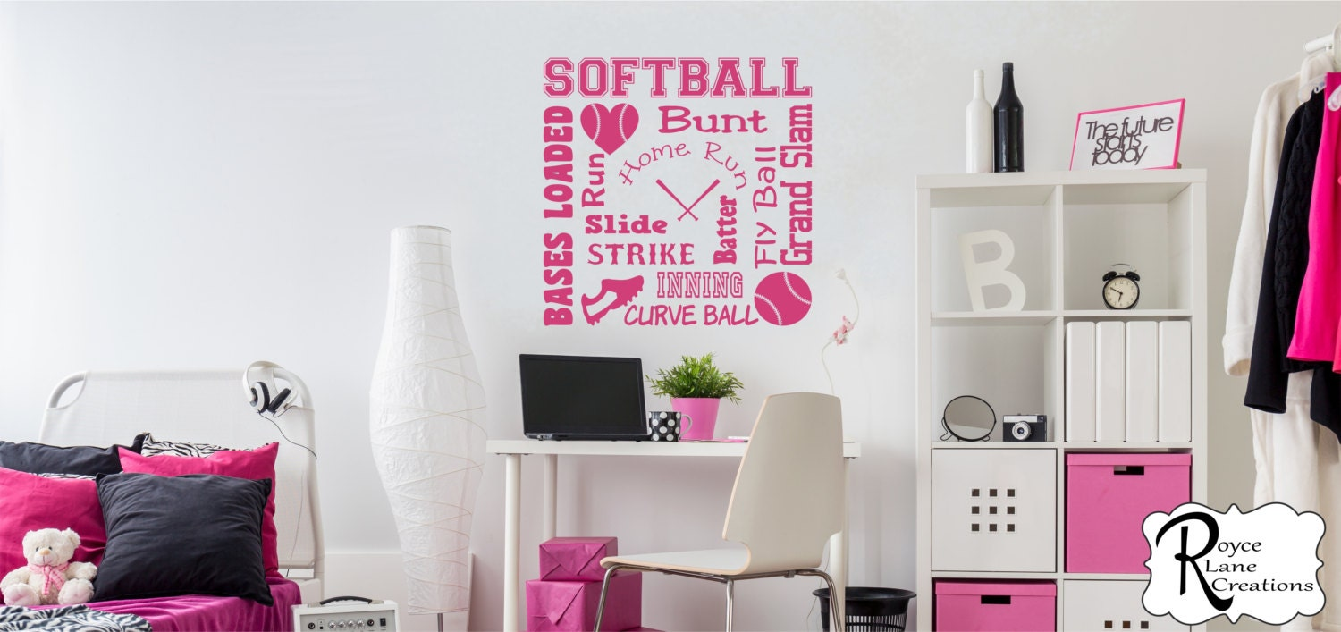 Softball wall decal softball word art 2 for girls room teen girl softball wall decal softball word art 2 for girls room teen girl bedroom teen room decor softball wall decal for girls bedroom amipublicfo Gallery