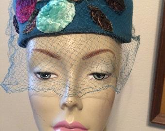 1950s Turquoise Velvet Pillbox Hat Jane Morgan New York