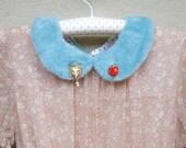 Detachable collar, Peter Pan shearling mint collar, wolf and apple collar pin, kawaii sweet collar, faux fur collar, spice and wolf collar.