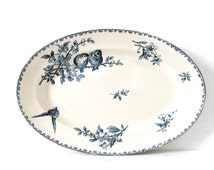 "Large Faience Blue Transferware Round Dish made by Sarreguemines - France, pattern "" Favori "". French Plate."