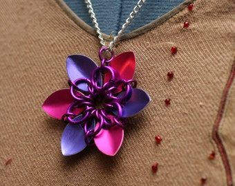 Pink and Purple Scalemaille Flower Necklace
