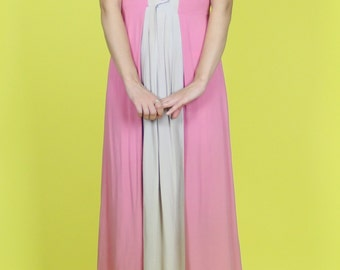 1940s. pink and grey color block rayon dress. size extra small- small