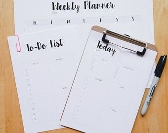 Weekly Planner Printable Set - Minimal To Do List, Daily Planner & Weekly Planner