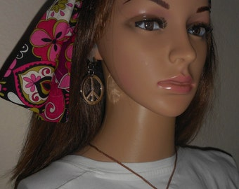 "New 1970's hippie cotton head band scarf with free  piece sign necklace and earings 35"" by 2"""