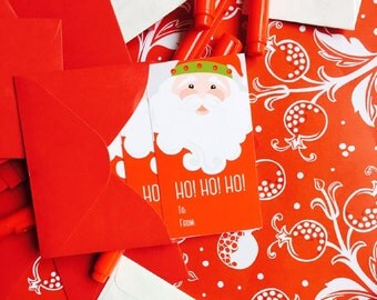 "Christmas Gift Tags | Jolly Santa Gift Tags | Sold in Sets of 12 | 2"" x 3.5"" Rectangular Holiday Gift Tags"
