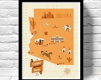 Arizona Map, The Copper state map, original illustrated map, nursery map, Home State Map, Arizona state poster, modern map, family map