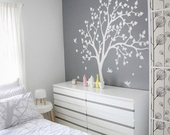WHITE Tree wall decal, wall art, Home decors, Murals, Removable vinyl decals, sticker - Tree with birds K012