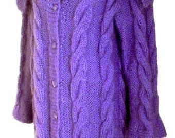 Long cardigan cable knit Handmade, womens cardigan, cable knit, mohair, mohair sweater, mohair cardigan, cardigan knit, cardigan cable knit
