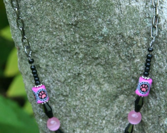 Fucshia Paw Print Necklace