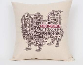 """Pekingese 16"""" Pillow / Choose Your Colors! / Insert Included / Dog Breed Pillow, Dog Lover Gift, Pet Pillow, Dog Art, Dog Mom, Pet Lover"""