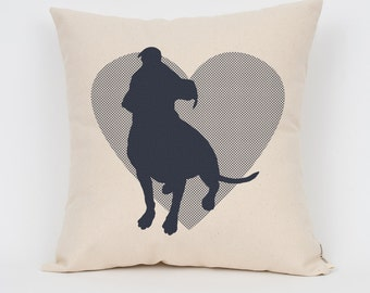 """Pit Bull Heart Silhouette 16"""" Pillow / Choose Your Colors! / Insert Included / Dog Breed Pillow, Dog Lover Gift, Pet Pillow, Dog Art"""