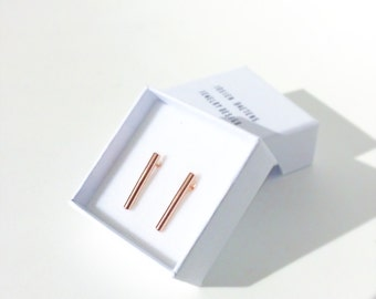 PINK gold ROD SHINE - roségold plated rodEarrings, gold minimalist bar studs