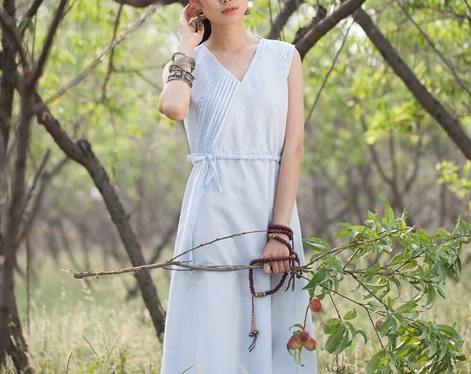 Women long dress - Sleeveless Dress - V Neck - Pleated Dress/Decorative pleat - Summer dress - Linen dress - Made to order