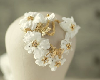 cherry blossom branches  with gold plated butterflies, gold plated flowers and swarovski crystals