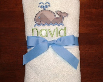 Whale infant hooded towel