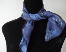 Vintage 80s Silk Scarf Talbot's Blue Reversible Chiffon Unusual Attractive Small Floral Print Lovely Condition Neckerchief Square