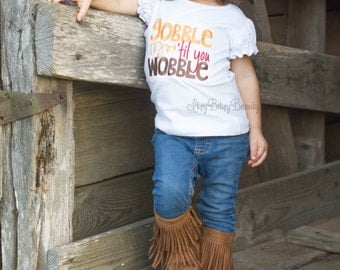 Gobble till you wobble embroidered girls shirt turkey thanksgiving fall arrow orange brown red