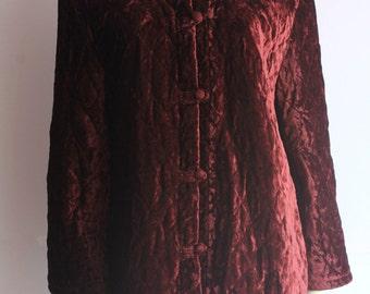 90's Vintage Quilted Burgundy Velvet Mandarin Collar Knee Length Jacket
