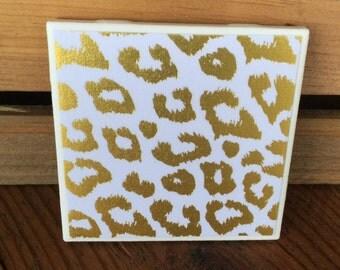 Gold Foil Cheetah Print Coasters - Set of 4 Coasters