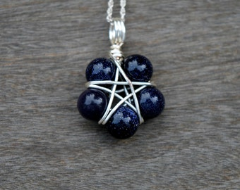Blue Goldstone Star Wire Wrapped Pendant (Free shipping in Canada!)