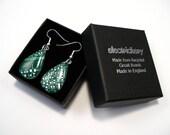 Recycled silver & dark green circuit board teardrop earrings - geek earrings - computer earrings - 25mm