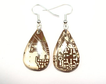 Recycled chocolate brown & copper circuit board teardrop earrings - geek earrings - computer earrings - 25mm