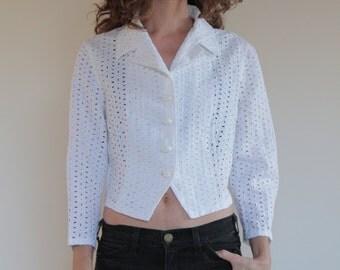 80's Byblos white lace cotton short summer jacket