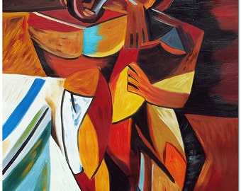 Lamitie 1908 Oil Painting - Hand Painted Cubist Oil Painting On Canvas