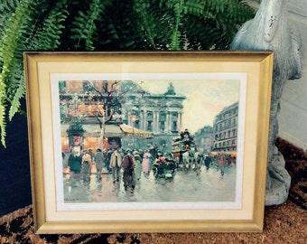 SALE.. Vintage Large Gold Framed, City Street Scene, Print on Board, Hollywood Regency, Shabby Chic, Vintage Art Work, Wall Decor