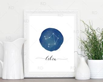 Libra Constellation Zodiac - PRINTABLE Wall Art / Zodiac Constellation Wall Art / Zodiac Art by Month / Astrological Art Printable