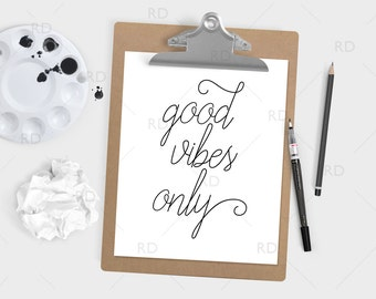 Good Vibes Only - PRINTABLE Wall Art / Typography Printable / Cursive Script Quote Print / Good Vibes Print / Quote Wall Art / Home Decor