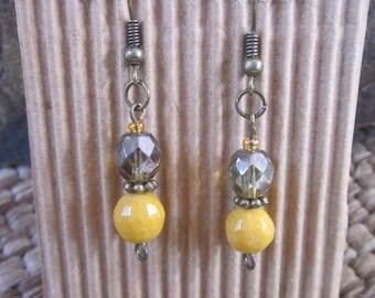 bohemian earrings boho earrings yellow earrings green czech glass  Moroccan earrings gift for wife dangle earrings gift for mom gift for her