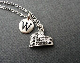 Roman Colosseum Necklace, Custom Coliseum Keychain, Colosseum Keyring, Personalized Roman Colosseum Bangle Bracelet, Rome Italy Ruins