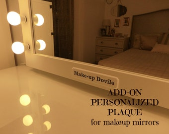 Personalized plaque for makeup mirrors - engraved plaque - wooden sign - customized sign