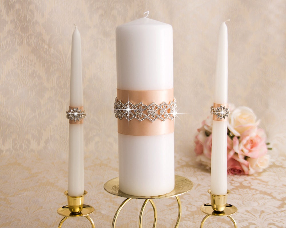 Wedding Candles: Rhinestone Wedding Unity Candles Set Crystal Wedding Candles