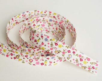 Floral Bias Tape, 3 yards, Floral Bias Binding, Double Fold Bias Tape, Bias Trim, Bias Binding, Decorations, Pink Flowers