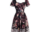 MYK070 2016 Summer-Autumn New Arrival Lace Printed Black Dresses for Party Graceful Women's Clothing Vintage Modified Hepurn Style