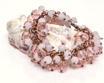 Chunky cluster mate pale Rose Quartz and Czech glass bead handmade bracelet