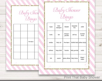 Baby Shower Games - Baby Shower Bingo - Pink and Gold Baby Shower - Pink and Gold Shower Games - Bingo Shower Games - Pink and Gold