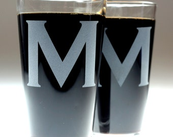 Monogram Copperplate Etched Sandblasted Glasses (set of 2) , christmas gift , dad gift , father gift , brother gift , newlywed gift ,wedding