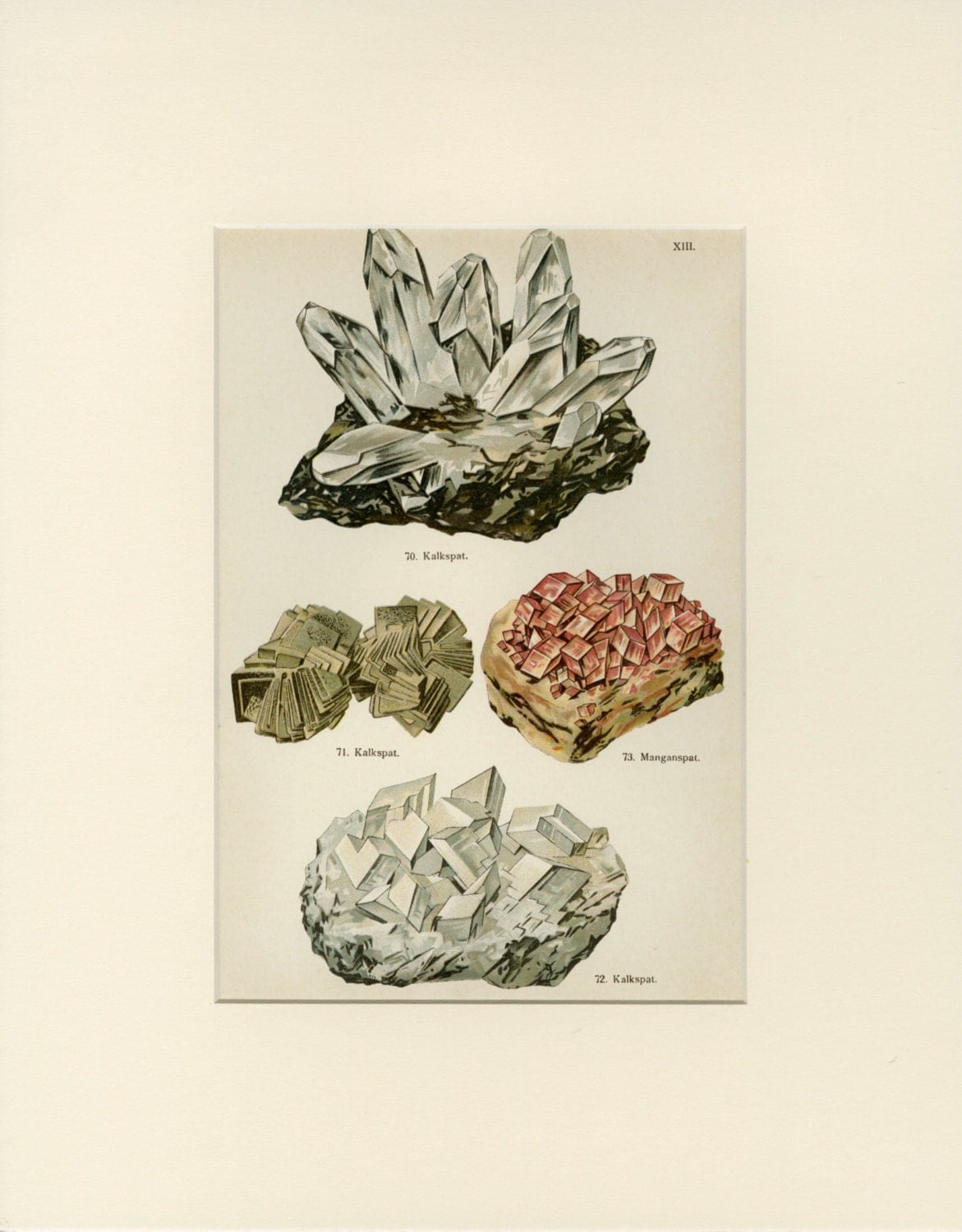 Antique mineral print raw minerals wall art geology art for Mineral wall