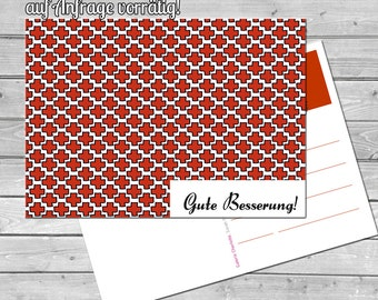 Postcard, speedy recovery, recovery, health, greetings, greeting card, Red Cross
