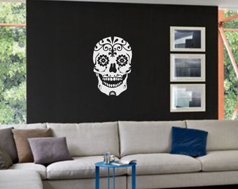 Large Sugar Skull Decal sticker wall art day of the dead car graphics room decor emo gothic AA09.22