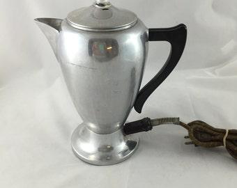 Vintage Mirro-Matic Electric Aluminum Coffee Pot Percolator, 8 Cup