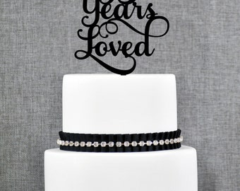 95 Years Loved Birthday Cake Topper, Elegant 95th Anniversary Cake Topper, 95th Cake Topper- (T245-95)