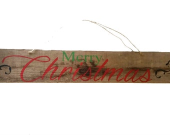 2 Sided Sign Merry Christmas, Barn Wood, With Happy  Halloween, Always Thankful, Winter Wonderland, America est. 1776 on Reverse SIde.