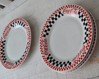 4 Coca Cola Dinner Plates Restaurant Ware Heavy Diner Plates Coca Cola Dinner Plates Gibson 1996 Red Black Checkered Diner Dishes Pattern